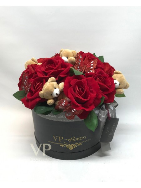 Red Artificial Rose Hat Box