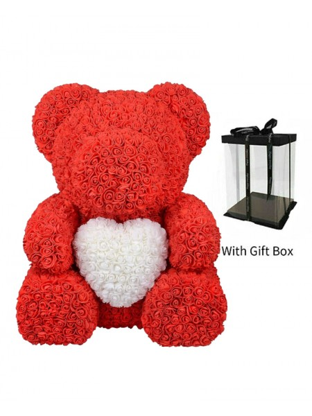 X-Large Red ''Foam Rose'' Teddy Bear with White Heart