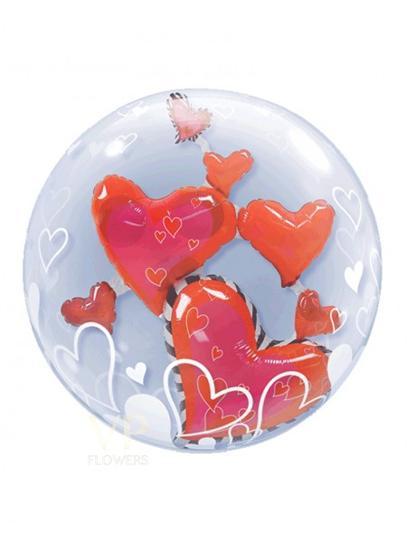 Double Bubble Red Heart Balloon