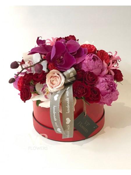Peony and Pink Phalaenopsis Luxury Hat Box