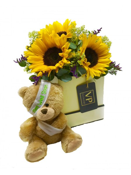 Sunflowers Hatbox 'Get Well'