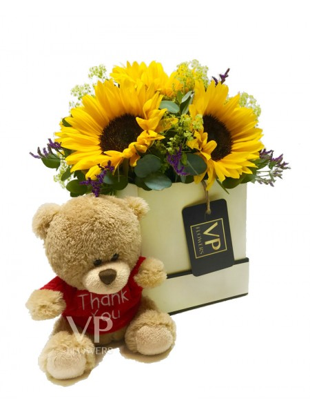 Sunflowers Hatbox 'Thank You'