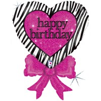 Birthday Zebra Heart Bow