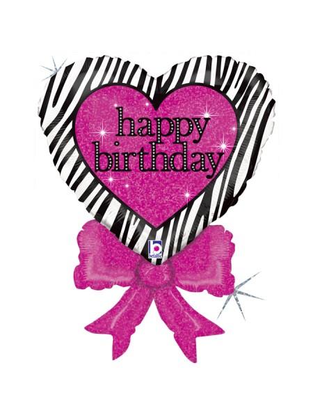 Birthday Zebra Heart Bow