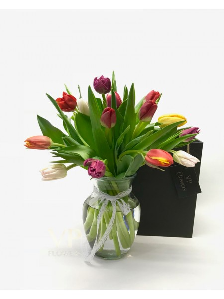 Mixed Tulips Vase