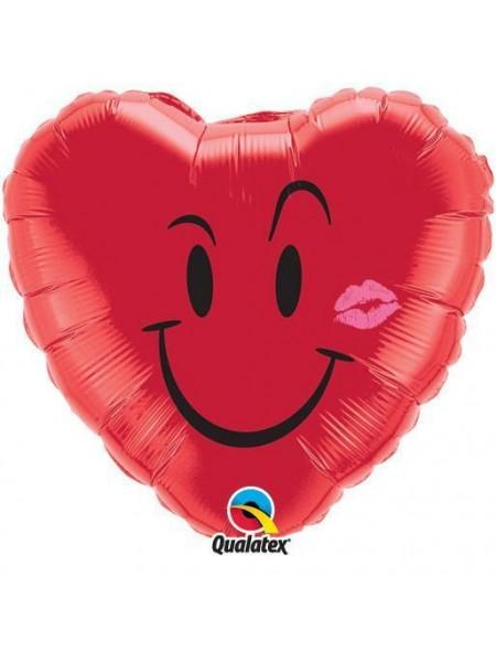 Love Heart With a Cheeky Grin Balloon