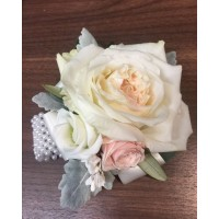 White and Pink Rose Wrist Corsage