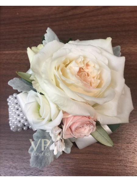 White and Pink Rose Corsage